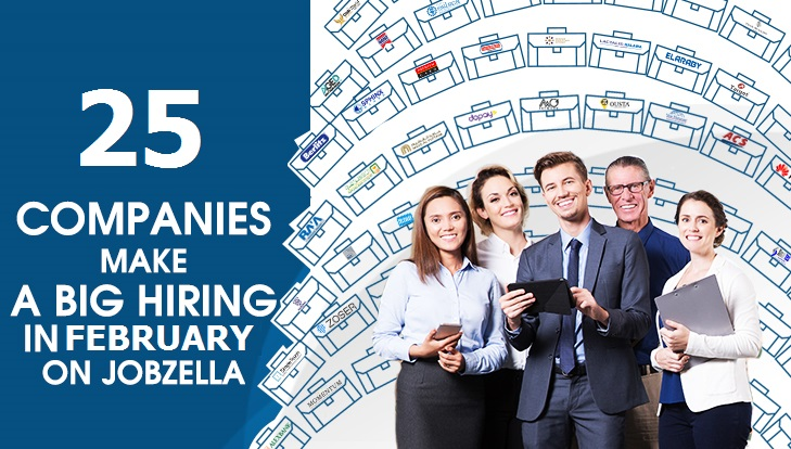 Top 25 companies hiring in February on Jobzella